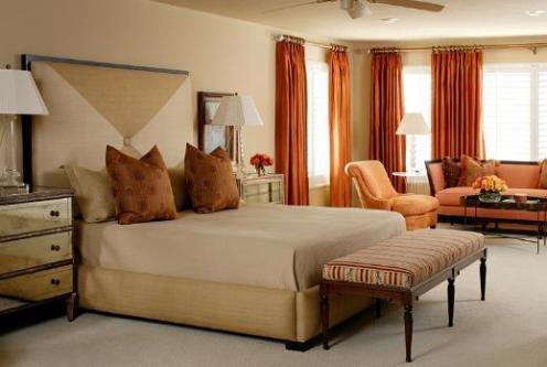 terracotta red and beige cream bedroom