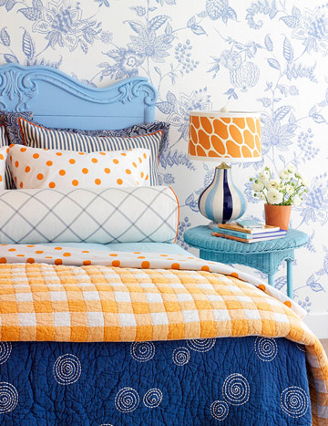 white blue orange colorful bedroom