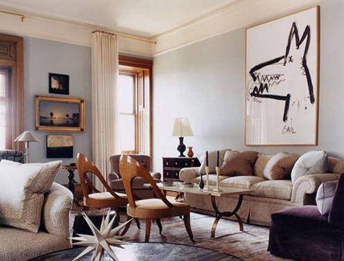 cream end light blue modern living room