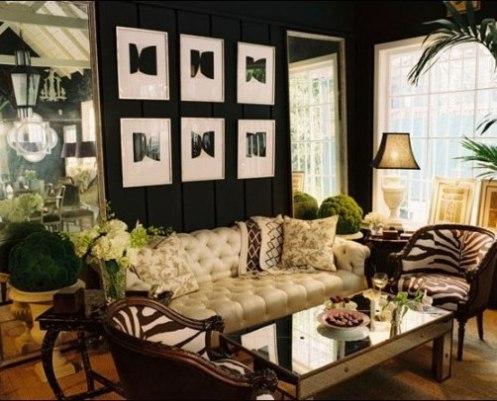 black and creme jungle theme living room with zebra print chair