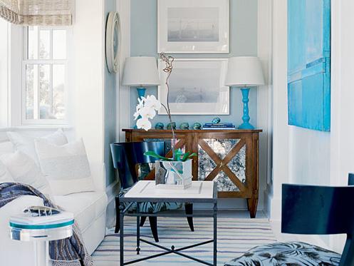 Living Room Nook sheer serendipity: livingroom nook in light blue and white