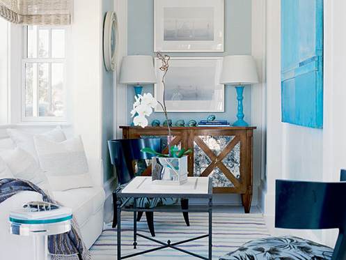 light blue and white nautical style nook