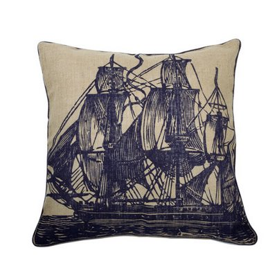 sail boat pillow blue and beige