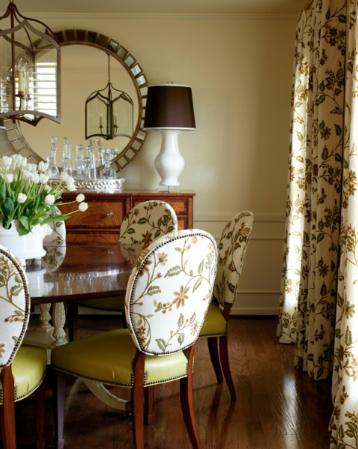 cream and green classic dining room