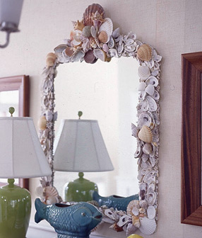 sea shell mirror frame