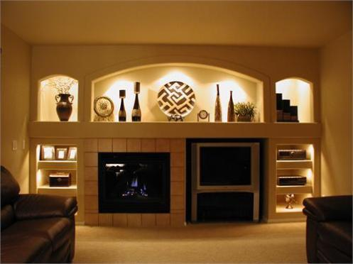posh built in shelves with integrated lighting