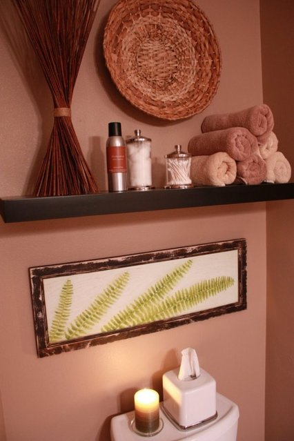 home spa natural look bathroom organic material, fern painting