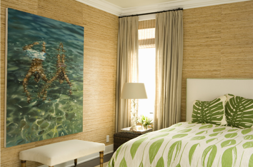 green beige white beachy bedroom natural fiber wallpaper