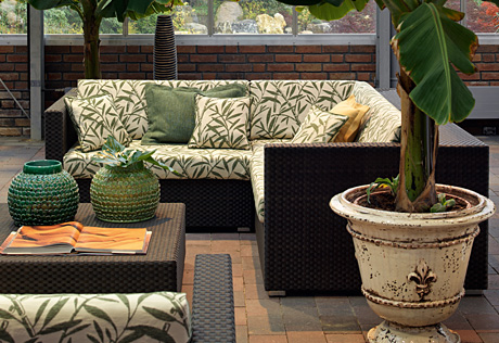 patio porch rattan furniture cream and olive green