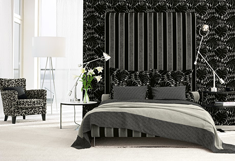 Black And White Striped Wallpaper. lack and white bedroom