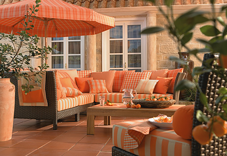 orange run room outdoor porch garden interior stripes