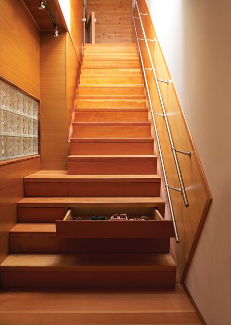 stairway storage drawer in stair staircase