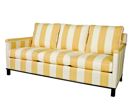 yellow white stripe sofa