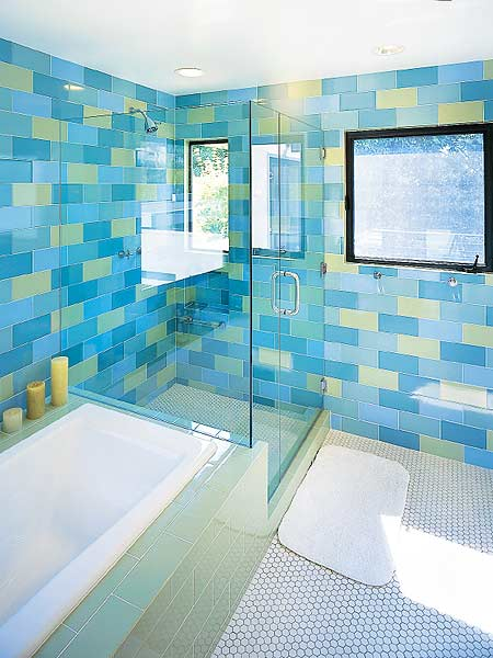 blue aqua and yellow bathroom tiles