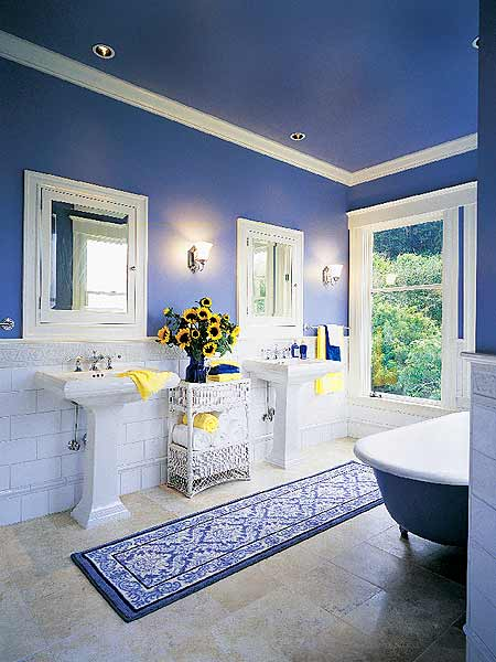 blue white yellow bathroom