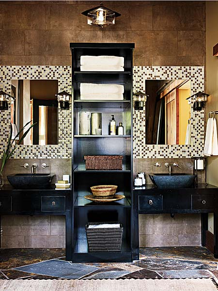 brown hot bathroom modern