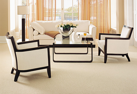 posh modern classical living room lounge beige white black rug carpet chairs sofa