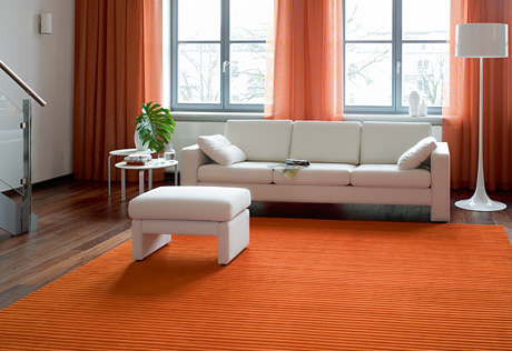 orange and white modern living room lounge