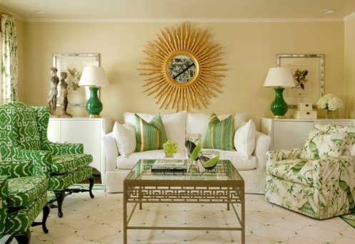 beige white green living room large sun mirror