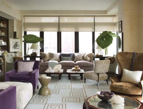 cream and purple living room