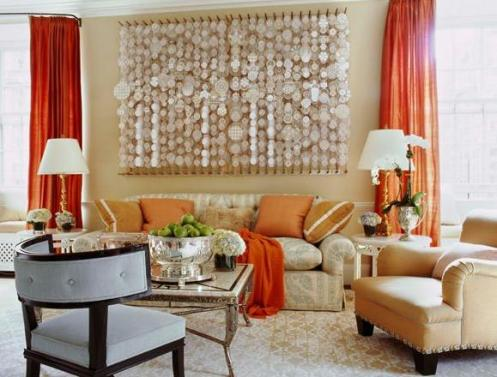 beige and choral red living room