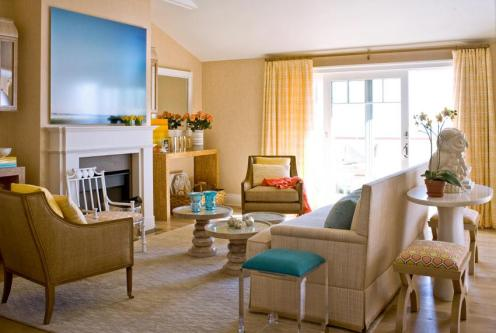 beige blue modern living room