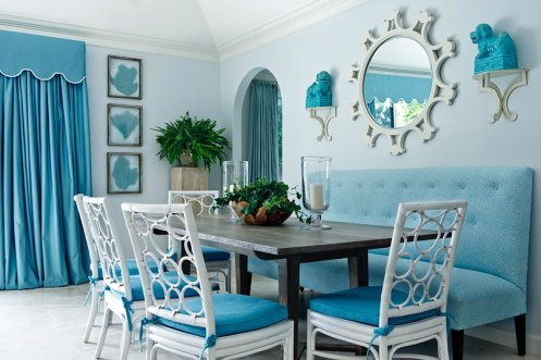 blue and white dining room modern white sun mirror