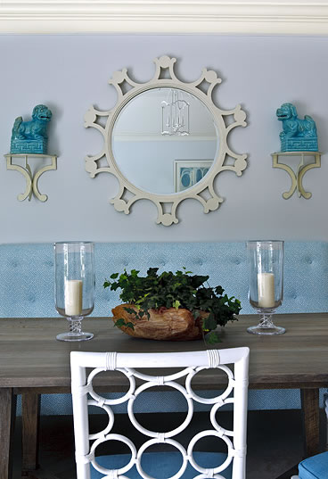 white and blue dining room chair
