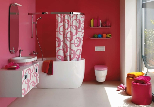 hot pink and white bathroom