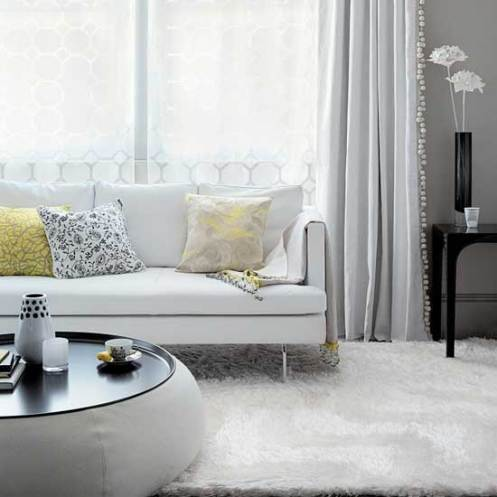 retro modern living room lounge, white rug and curtains