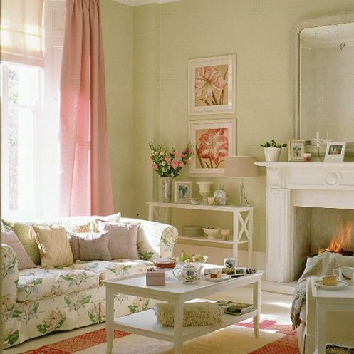 soft green white and pink romantic country style living room