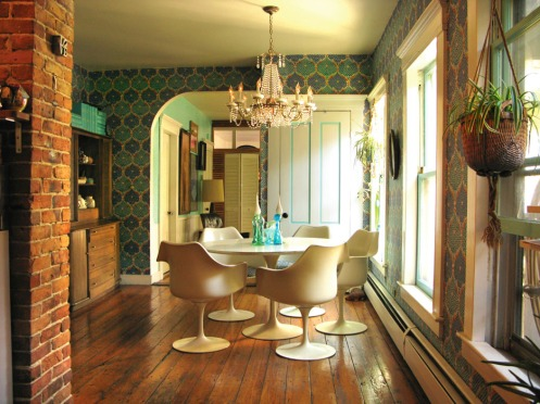 blue green retro dining room area wary meyers