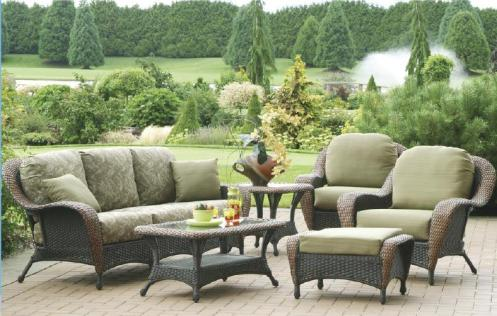 rattan wicker outdoor patio furniture green and brown