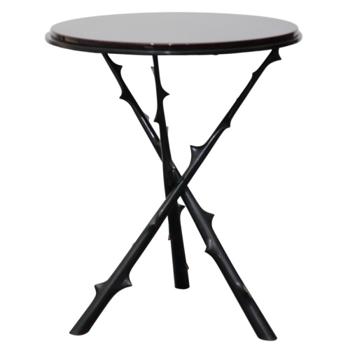 rose thorn round side table modern black