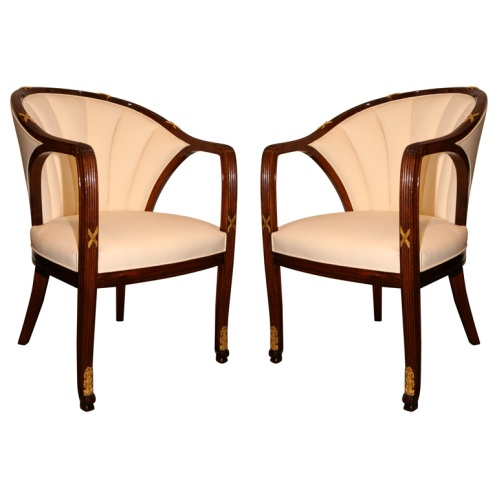art deco posh classic cream chairs
