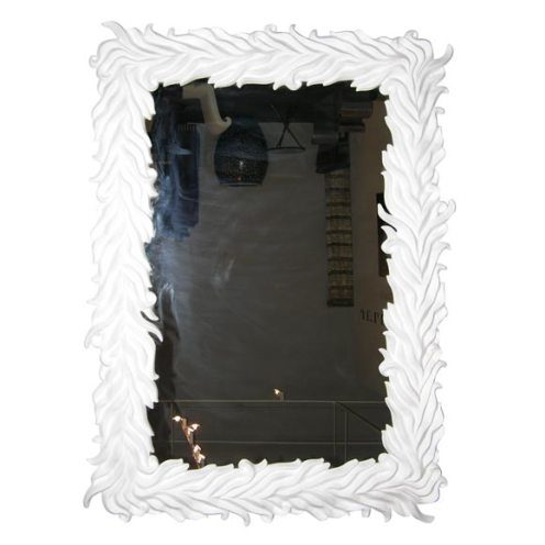 art deco white leaf frame mirror