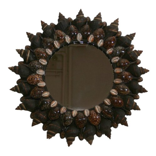 brown sea shell round sun mirror art deco