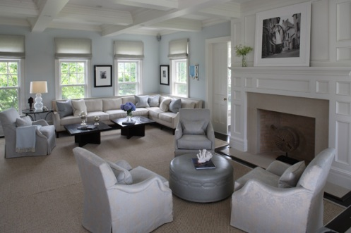 baby blue white grey classic living room
