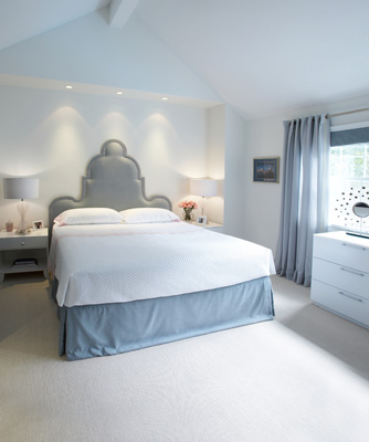 ice cold baby blue and white master bedroom