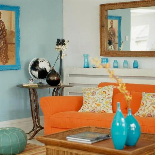 blue and orange colorful living room