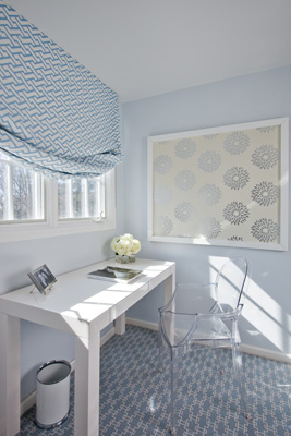 baby blue and white home office with ghost chair