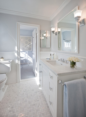 baby blue and white classic light bathroom