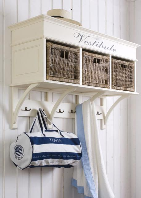 white and bluenautical style hallway wall storage shelf