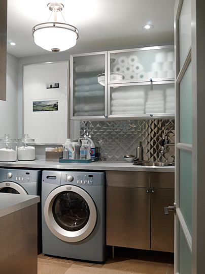 grey and silver polished steel modern washing room laundry