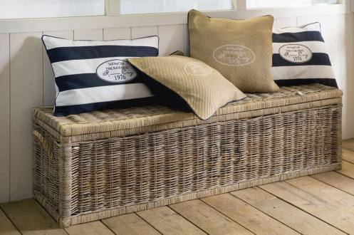 storage unit wicker rattan box seating nautical hall