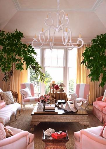 pink white yellow coastal beachy living room