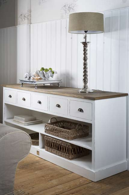 nautical console side table storage