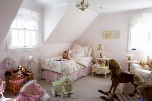 white and pink horse theme girls room