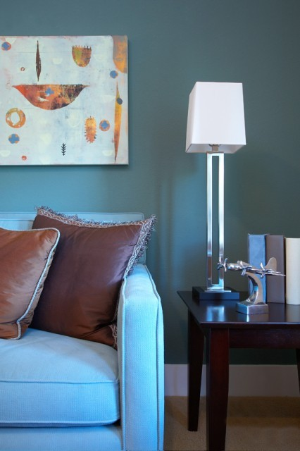 mmodern blue green brown living room