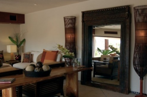 tropical living room large mirror